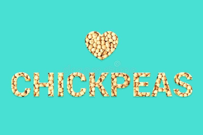 Texto da textura dos grãos-de-bico com forma do coração no fundo azul ilustração stock