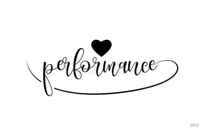 texto da tipografia do desempenho com coração do amor ilustração do vetor