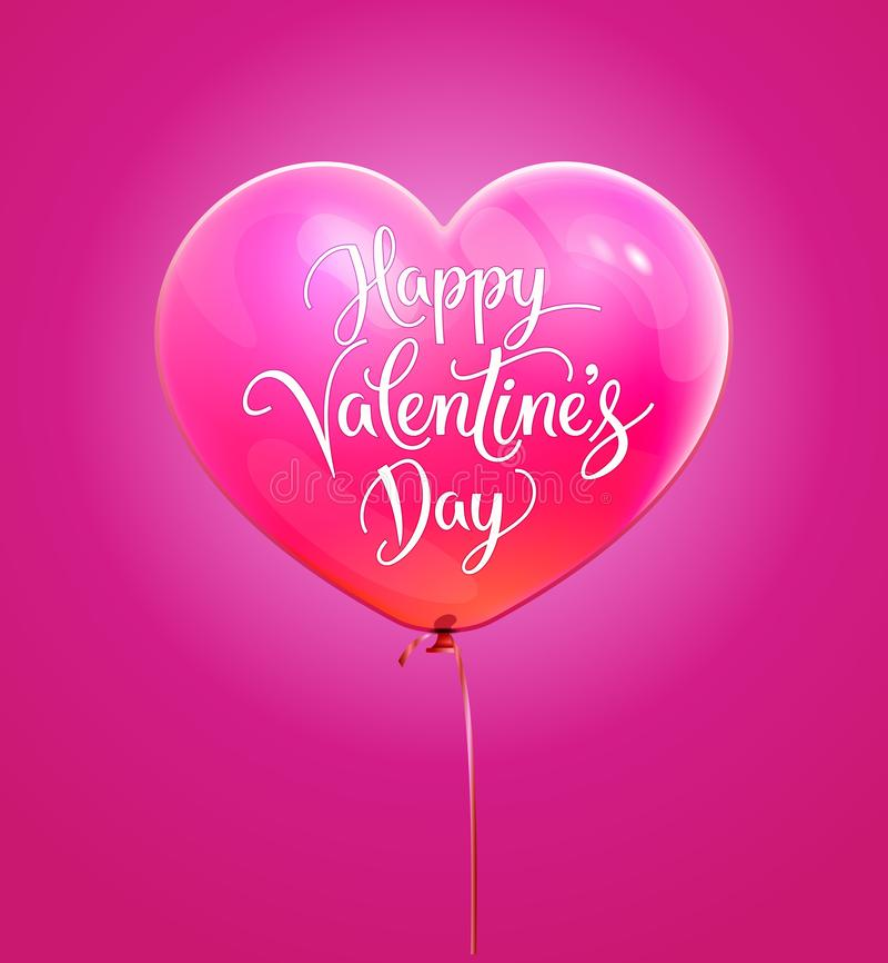 Texto da tipografia da rotulação do dia de Valentim no ballon 3d no formulário do coração isolado no fundo cor-de-rosa Ilustração ilustração royalty free
