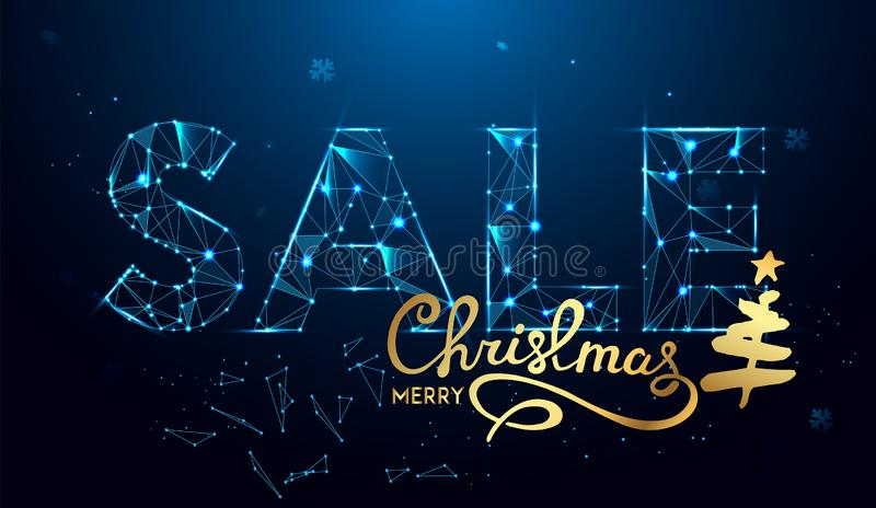 Texto da venda do Natal para a promoção com as decorações no fundo azul ilustração do vetor
