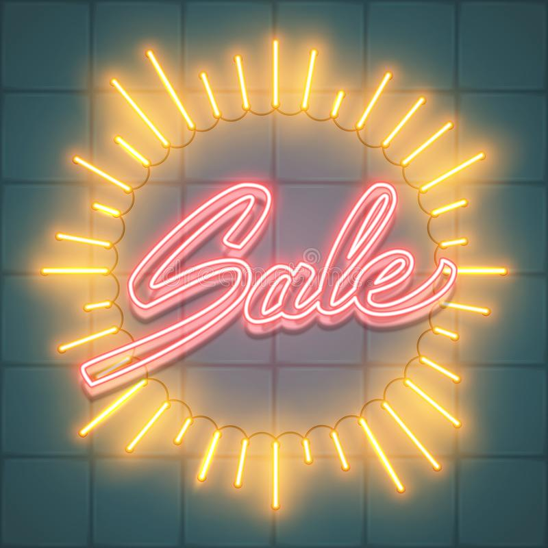 Texto da venda em raios da forma de néon do sunburst do quadro de luz de incandescência, VE ilustração stock