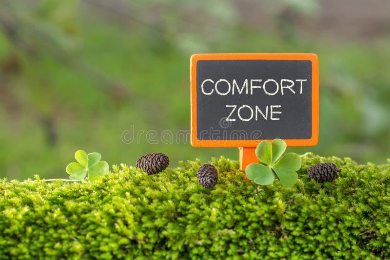 Texto da zona de conforto no quadro-negro pequeno fotografia de stock royalty free