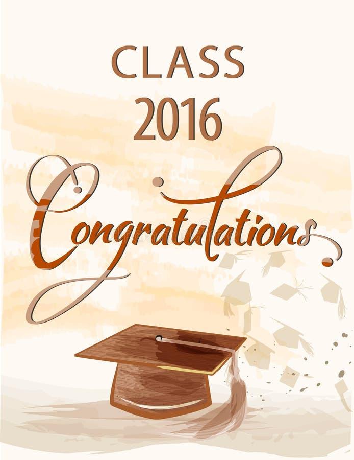 Texto das felicitações com classe 2016 ilustração do vetor
