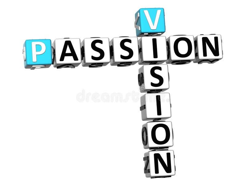 texto das palavras cruzadas da paixão da visão 3D ilustração do vetor