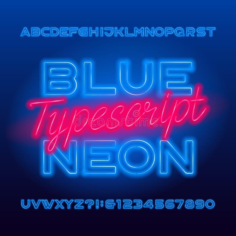 Texto datilografado de néon azul Letras principais e números azuis de ampola da cor ilustração royalty free