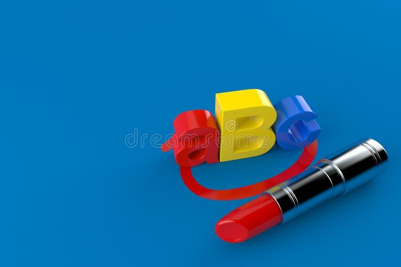 Texto de ABC seleccionado con la barra de labios libre illustration