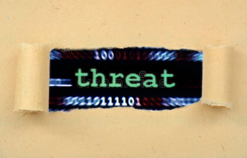 Texto de amenaza en papel rasgado foto de archivo libre de regalías