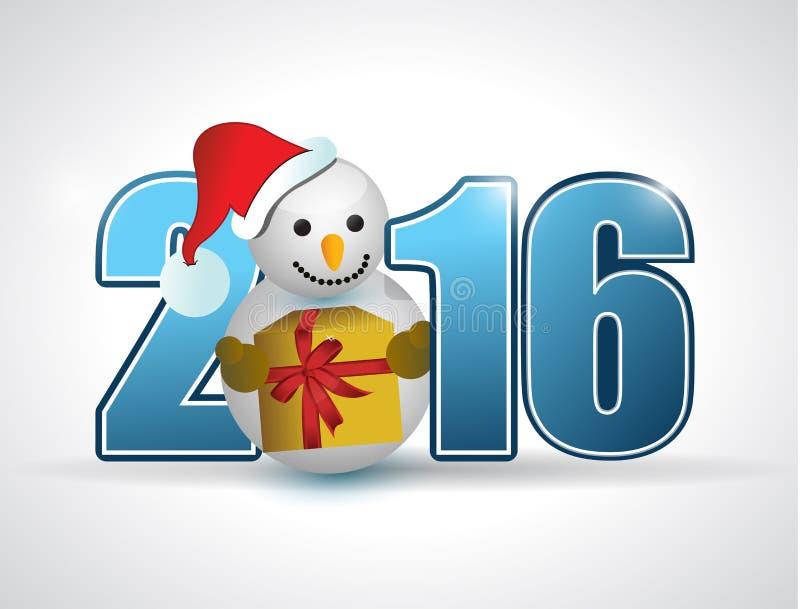 texto de 2016 azuis e boneco de neve e presente ilustração stock