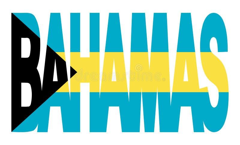 Texto de Bahamas com bandeira ilustração royalty free