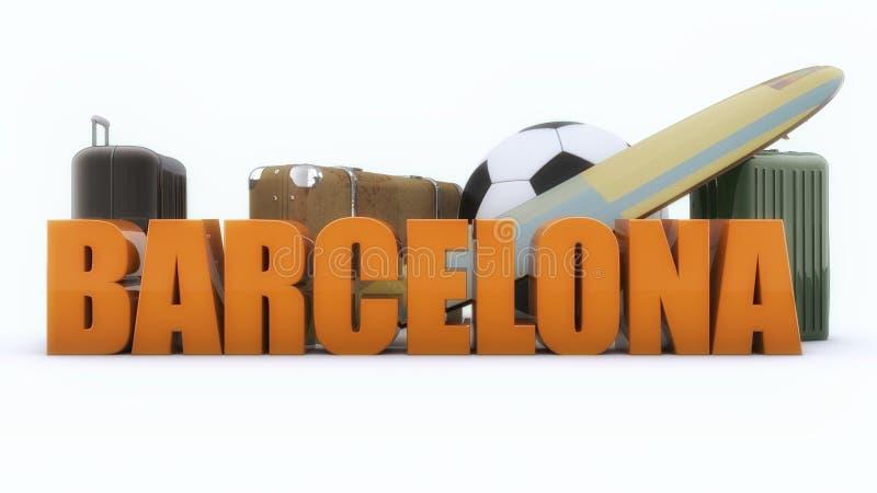 Texto de Barcelona 3d e malas de viagem e bola ilustração stock