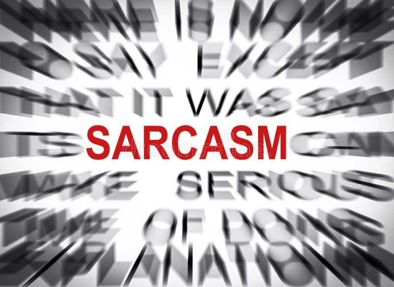 Texto de Blured com foco no SARCASMO imagem de stock royalty free