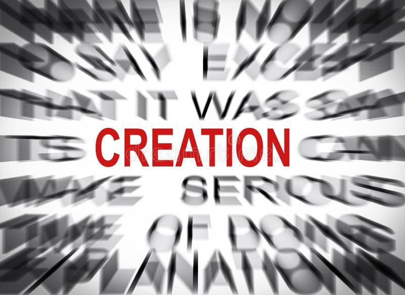 Texto de Blured con el foco en la CREACIÓN fotografía de archivo libre de regalías