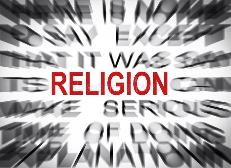 Texto de Blured con el foco en la RELIGIÓN fotos de archivo libres de regalías