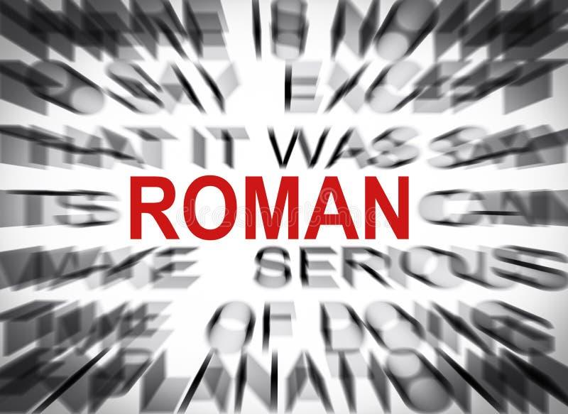Texto de Blured con el foco en ROMANO fotografía de archivo