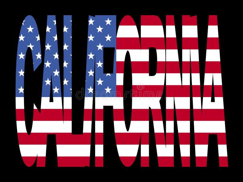 Texto de Califórnia com bandeira ilustração royalty free
