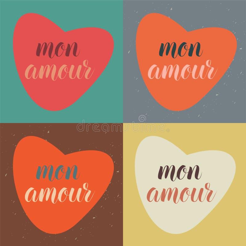 Texto de caligrafía vectorial mon amour con decoración romántica del corazón, en cuatro variantes de colores de tendencia stock de ilustración