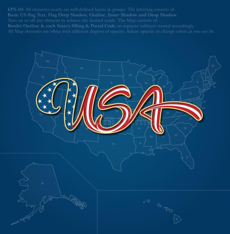 Texto de Caligraphic de la bandera de los E.E.U.U. sobre el mapa de los E.E.U.U. - azul stock de ilustración