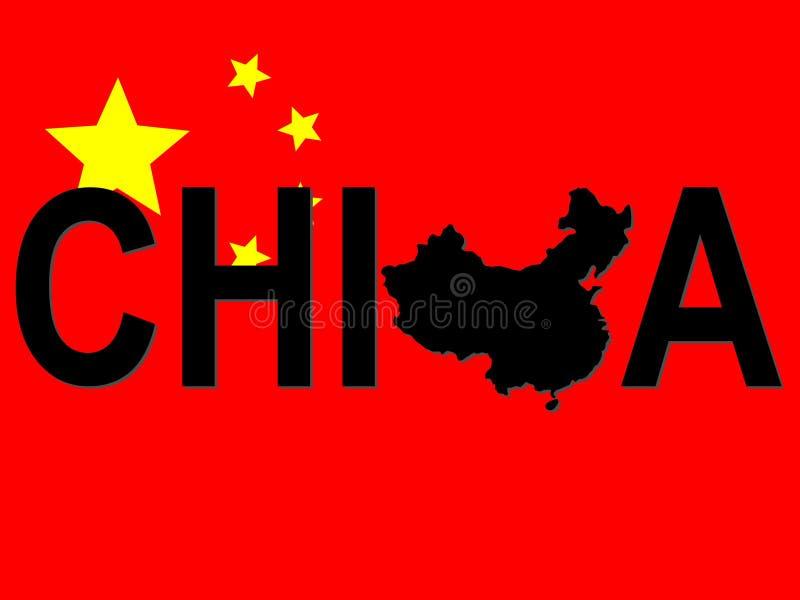 Texto de China com mapa ilustração royalty free