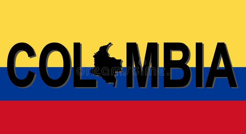 Texto de Colômbia com mapa ilustração stock