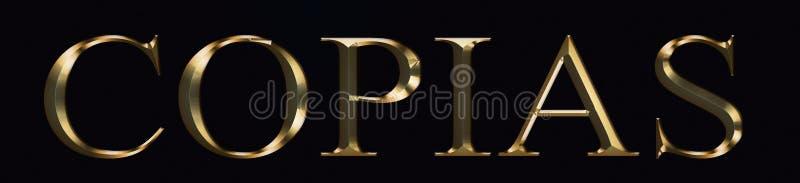 Texto de Copias feito no ouro no fundo preto Fonte festiva brilhante do ouro do partido foto de stock