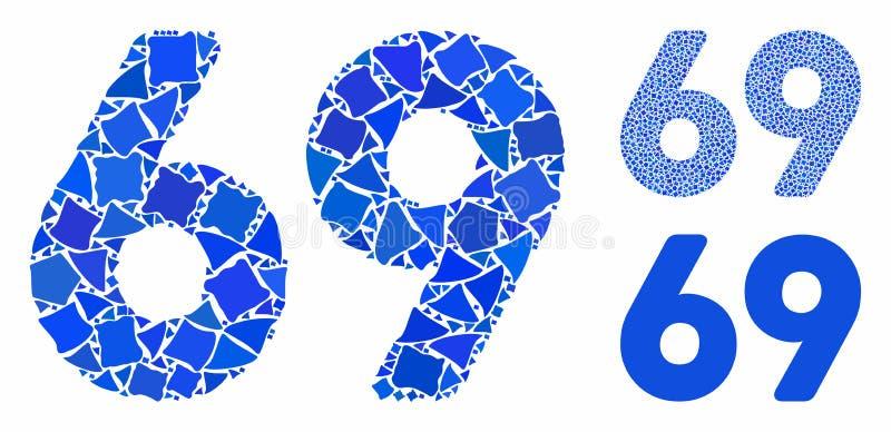 Texto de 69 dígitos Ícone Mosaico de Peças Unpares ilustração do vetor