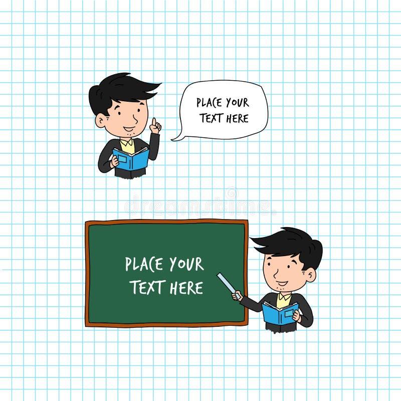 Texto de discurso cómico de la burbuja del profesor del hombre Sirva la enseñanza usando regla en su mano y pizarra stock de ilustración