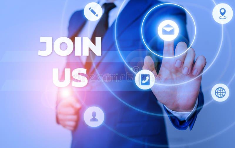 Texto de texto do Word Junte-se a nós Conceito de negócio para se registrar na comunidade Equipe ou blog Inscreva-se nas mídias s fotos de stock
