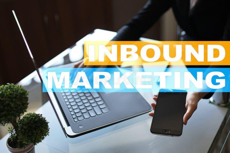 Texto de entrada del márketing en la pantalla virtual Concepto del negocio y de la tecnología fotos de archivo libres de regalías
