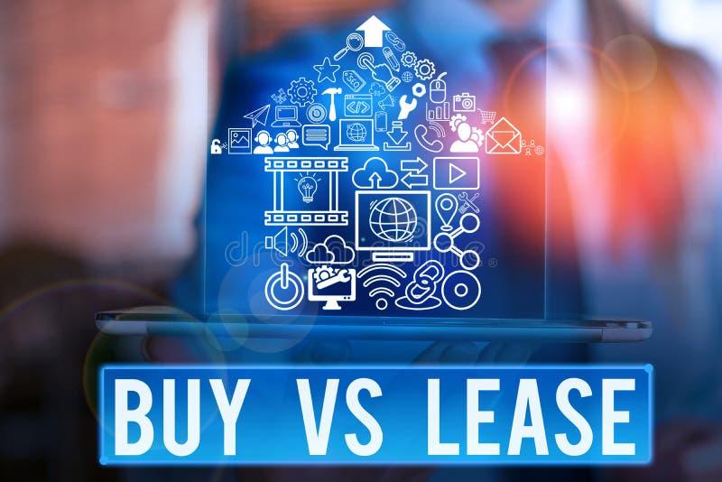 Texto de escrita do Word Comprar Vs Lease Conceito de negócio para possuir algo em vez de pedir emprestado Vantagens Desvantagens imagem de stock
