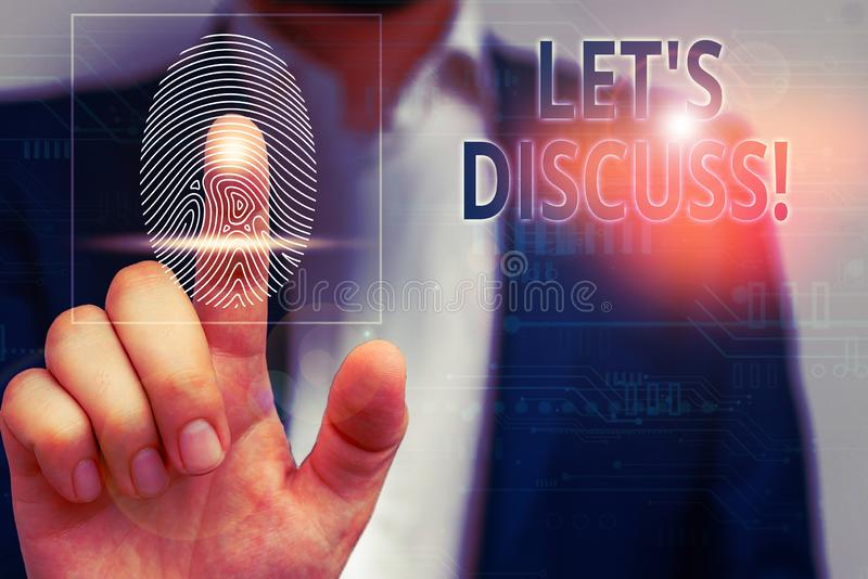 Texto de escritura a mano Dejemos de discutir Concepto que significa pedir a alguien que hable de algo con demostraciones o demos imágenes de archivo libres de regalías