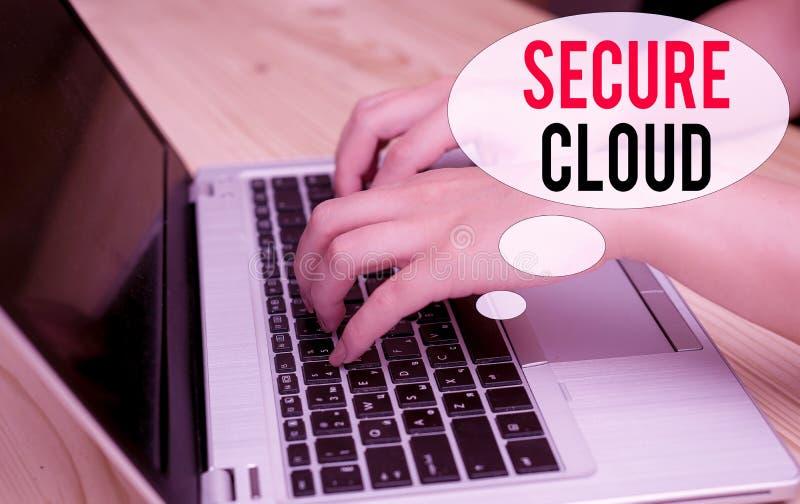 Texto de escritura de Word Nube segura Concepto de negocio para proteger la información almacenada segura Mujer con tecnología co fotografía de archivo libre de regalías