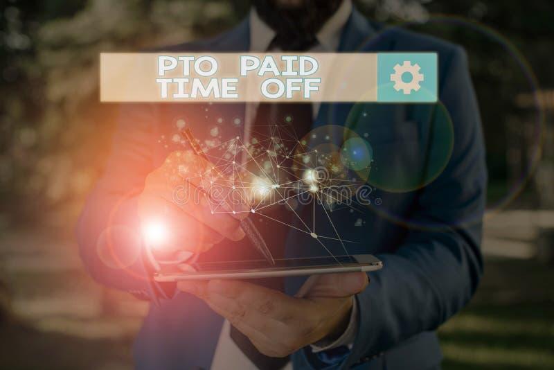 Texto de escritura de Word Pto Tiempo de desactivación pagado El concepto de empresa para el empleador otorga una indemnización p fotos de archivo libres de regalías