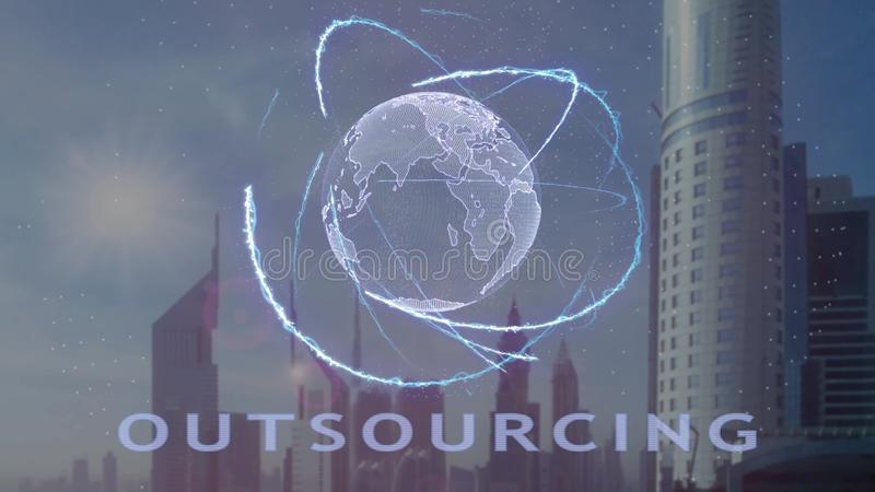 Texto de externaliza??o com holograma 3d da terra do planeta contra o contexto da metr?pole moderna fotografia de stock royalty free
