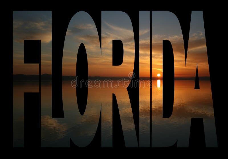 Texto de Florida com por do sol ilustração stock