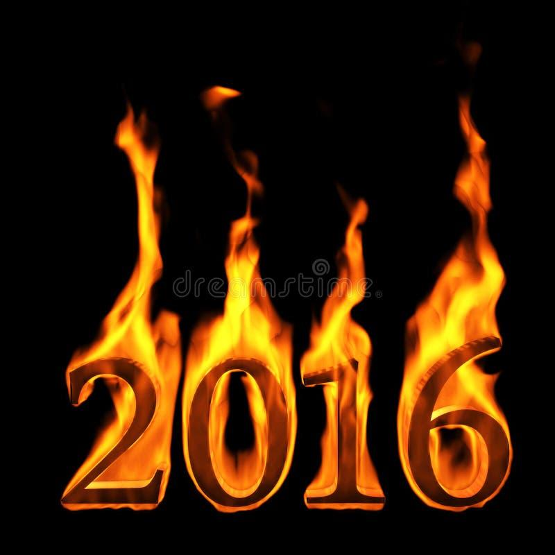 texto de 2016 fogos ilustração do vetor
