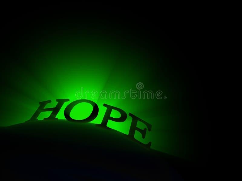 Texto de incandescência da esperança ilustração stock