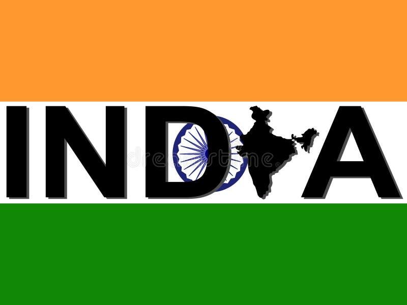 Texto de India com mapa ilustração stock