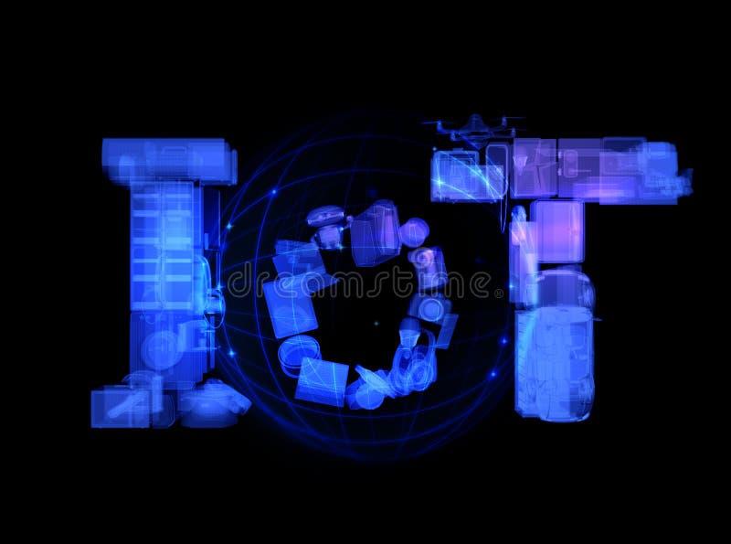Texto de IoT composto pelos dispositivos espertos que rendem no modo do raio X imagem de stock