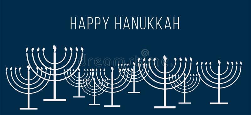 Texto de Jánuca y modelo felices de la repetición del menorah simple de Jánuca del esquema con las velas ardientes en el azul bla stock de ilustración