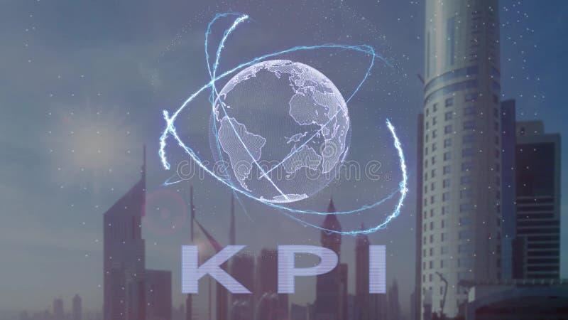 Texto de KPI com holograma 3d da terra do planeta contra o contexto da metr?pole moderna ilustração do vetor