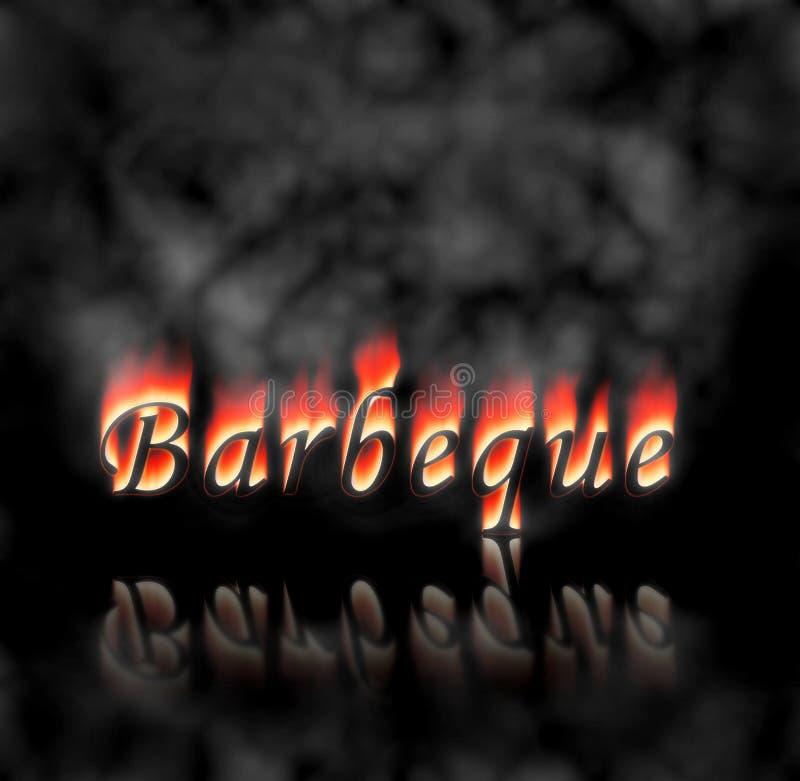 Texto de la barbacoa en el fuego libre illustration