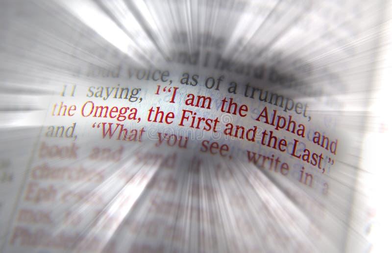 Texto de la biblia soy la alfa y la Omega fotografía de archivo