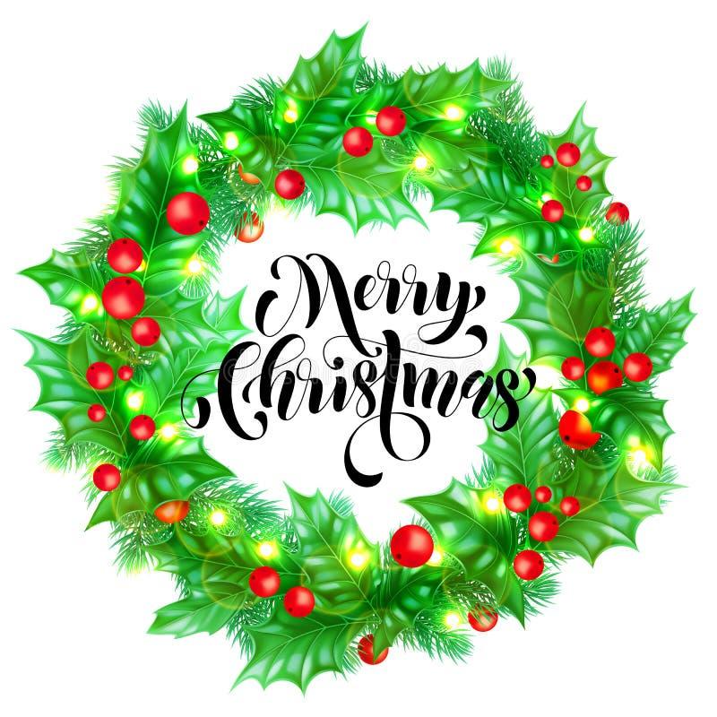Texto de la caligrafía de la Feliz Navidad decoración y acebo o de la guirnalda dibujado mano del árbol de navidad para la planti stock de ilustración