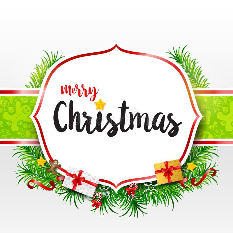 Texto de la caligrafía de la Feliz Navidad en marco con la hoja verde Cristo libre illustration