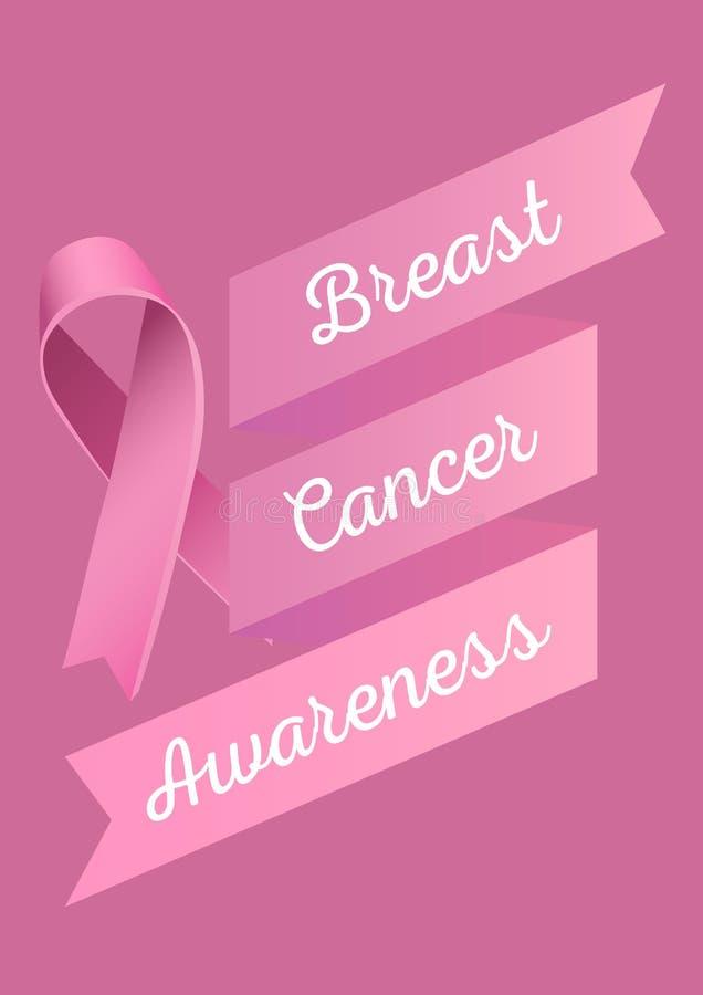 Texto de la conciencia del cáncer de pecho y cinta rosada ilustración del vector