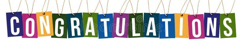 Texto de la enhorabuena en etiquetas del multicolor fotos de archivo libres de regalías