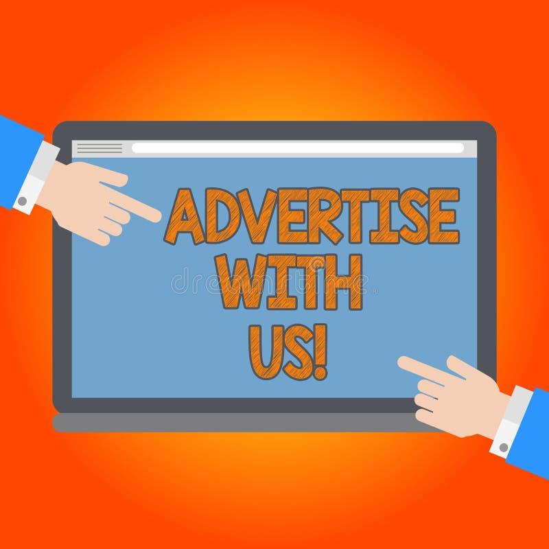 Texto de la escritura hacer publicidad con nosotros El márketing del significado del concepto hace servicio del producto sabido e stock de ilustración