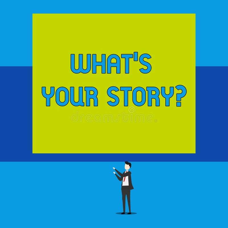 Texto de la escritura de la palabra cuál S es su Storyquestion Concepto del negocio para el analysisner de preguntar que demuestr ilustración del vector
