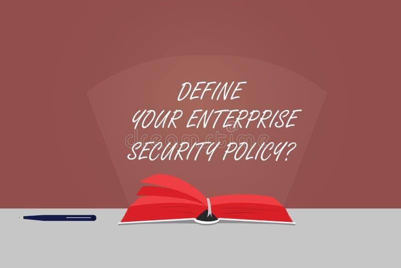 Texto de la escritura de la palabra definir su política de seguridad de la empresa Concepto del negocio para el color de los cont stock de ilustración