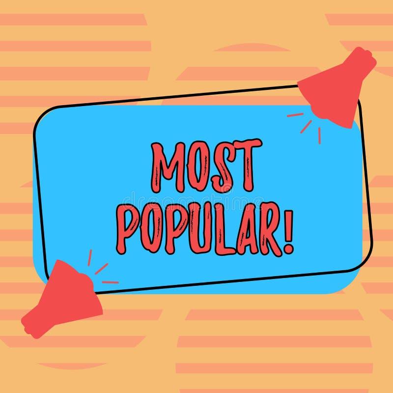 Texto de la escritura de la palabra más popular Concepto del negocio para el producto o el artista preferido de clasificación sup libre illustration